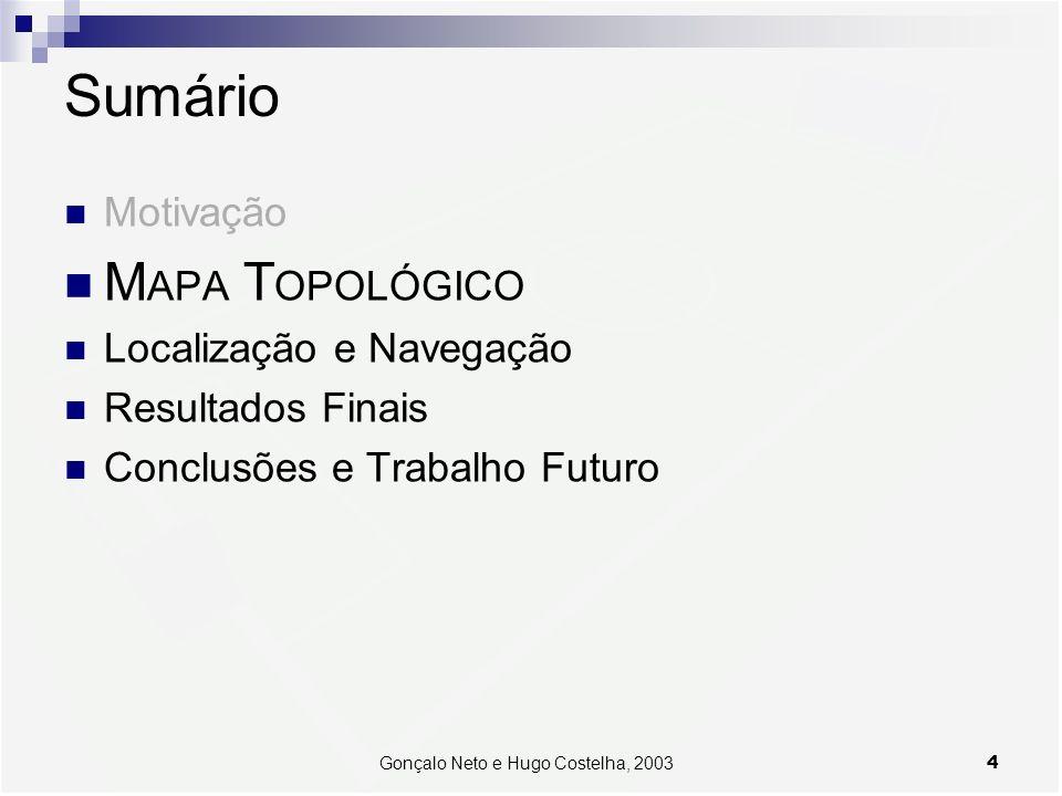 4Gonçalo Neto e Hugo Costelha, 2003 Sumário Motivação M APA T OPOLÓGICO Localização e Navegação Resultados Finais Conclusões e Trabalho Futuro