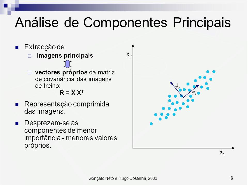 6Gonçalo Neto e Hugo Costelha, 2003 Análise de Componentes Principais Extracção de imagens principais vectores próprios da matriz de covariância das imagens de treino: R = X X T Representação comprimida das imagens.