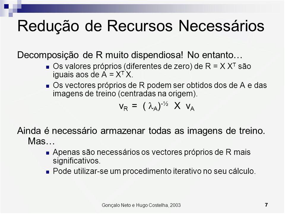 7Gonçalo Neto e Hugo Costelha, 2003 Redução de Recursos Necessários Decomposição de R muito dispendiosa! No entanto… Os valores próprios (diferentes d