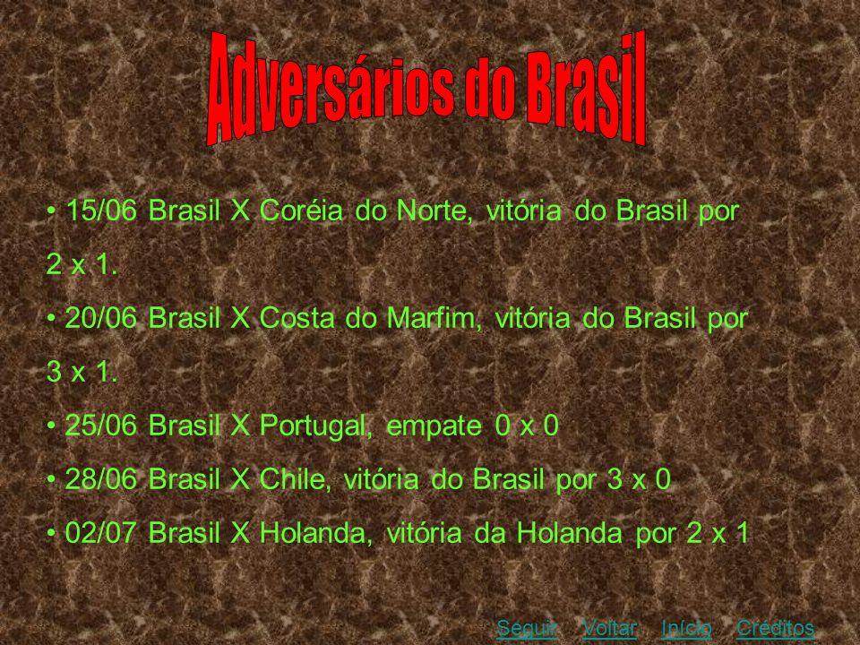15/06 Brasil X Coréia do Norte, vitória do Brasil por 2 x 1. 20/06 Brasil X Costa do Marfim, vitória do Brasil por 3 x 1. 25/06 Brasil X Portugal, emp
