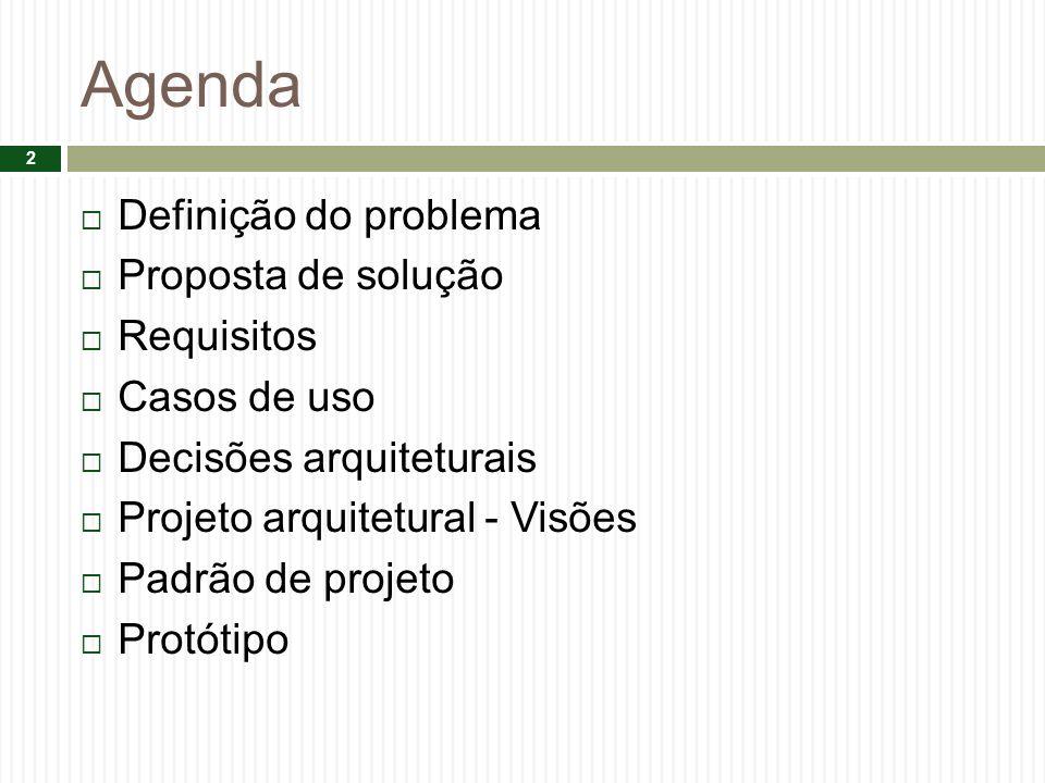 Agenda Definição do problema Proposta de solução Requisitos Casos de uso Decisões arquiteturais Projeto arquitetural - Visões Padrão de projeto Protót