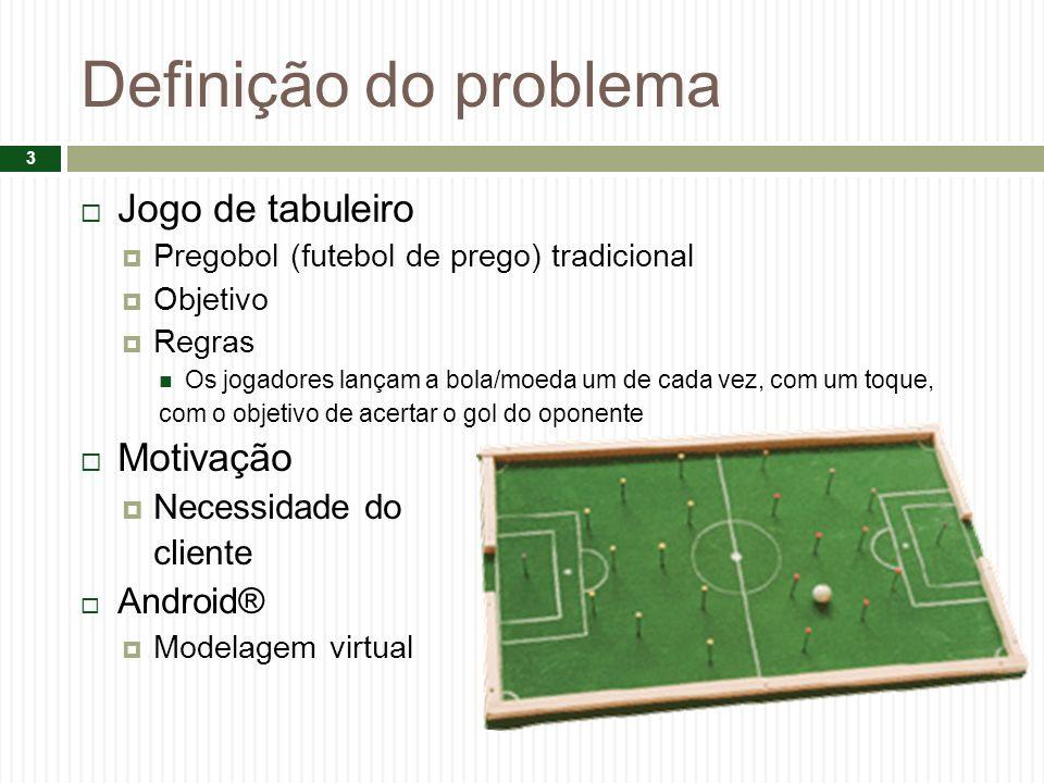 Definição do problema Jogo de tabuleiro Pregobol (futebol de prego) tradicional Objetivo Regras Os jogadores lançam a bola/moeda um de cada vez, com um toque, com o objetivo de acertar o gol do oponente Motivação Necessidade do cliente Android® Modelagem virtual 3
