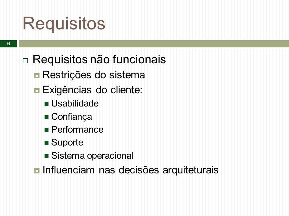 Requisitos Requisitos não funcionais Restrições do sistema Exigências do cliente: Usabilidade Confiança Performance Suporte Sistema operacional Influe