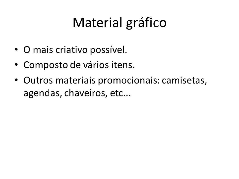 Material gráfico O mais criativo possível.Composto de vários itens.