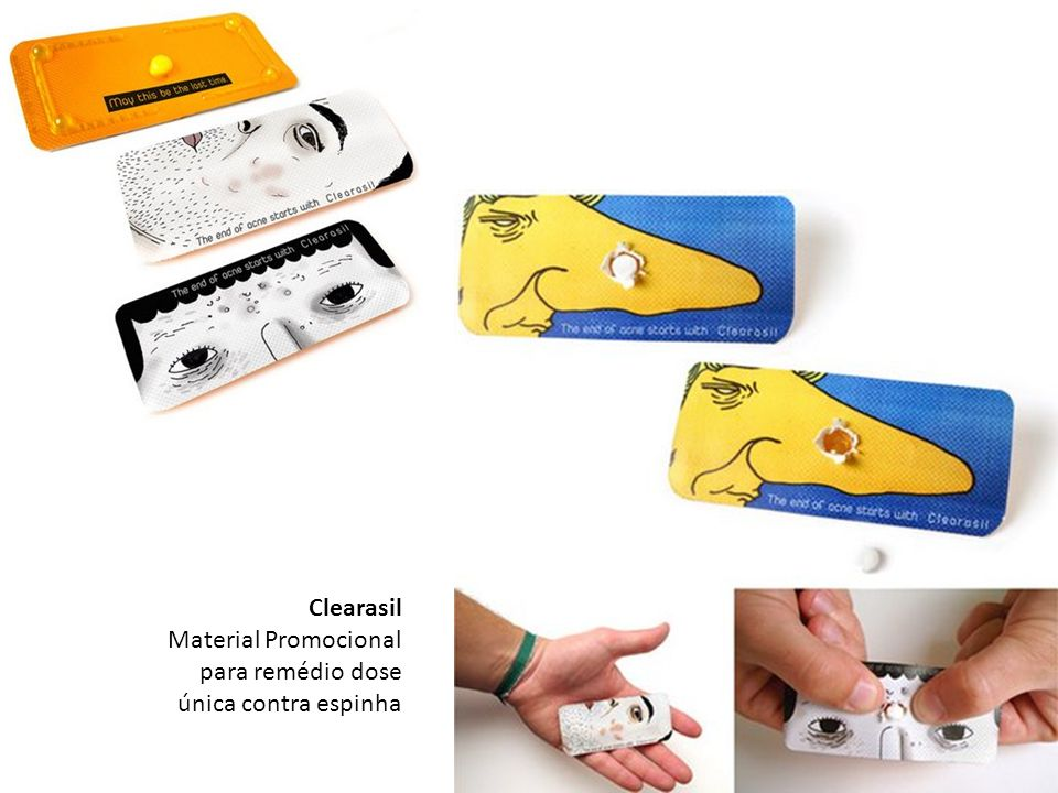 Clearasil Material Promocional para remédio dose única contra espinha