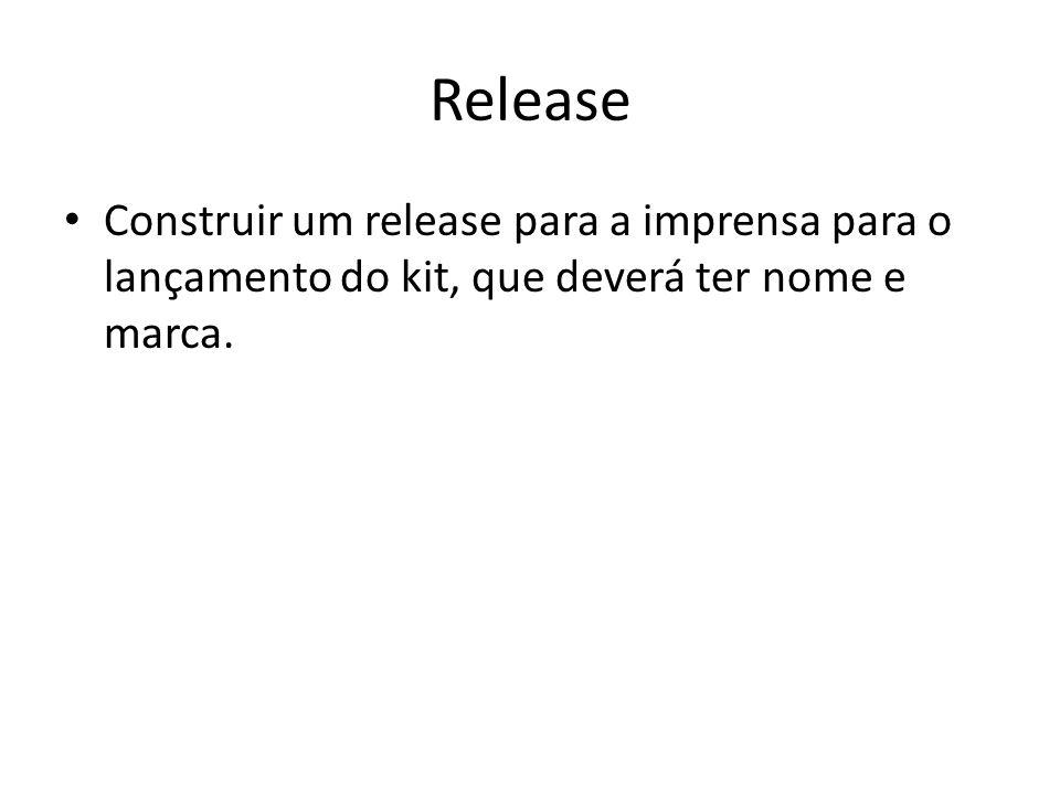 Release Construir um release para a imprensa para o lançamento do kit, que deverá ter nome e marca.