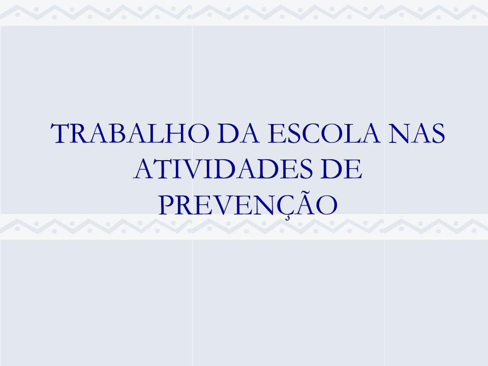 TRABALHO DA ESCOLA NAS ATIVIDADES DE PREVENÇÃO