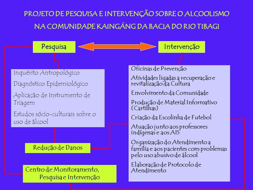 PROJETO DE PESQUISA E INTERVENÇÃO SOBRE O ALCOOLISMO NA COMUNIDADE KAINGÁNG DA BACIA DO RIO TIBAGI PesquisaIntervenção Inquérito Antropológico Diagnóstico Epidemiológico Aplicação de Instrumento de Triagem Estudos sócio-culturais sobre o uso de álcool Oficinas de Prevenção Atividades ligadas a recuperação e revitalização da Cultura Envolvimento da Comunidade Produção de Material Informativo (Cartilhas) Criação da Escolinha de Futebol Atuação junto aos professores indígenas e aos AIS Organização do Atendimento a família e aos pacientes com problemas pelo uso abusivo de álcool Elaboração de Protocolo de Atendimento Redução de Danos Centro de Monitoramento, Pesquisa e Intervenção