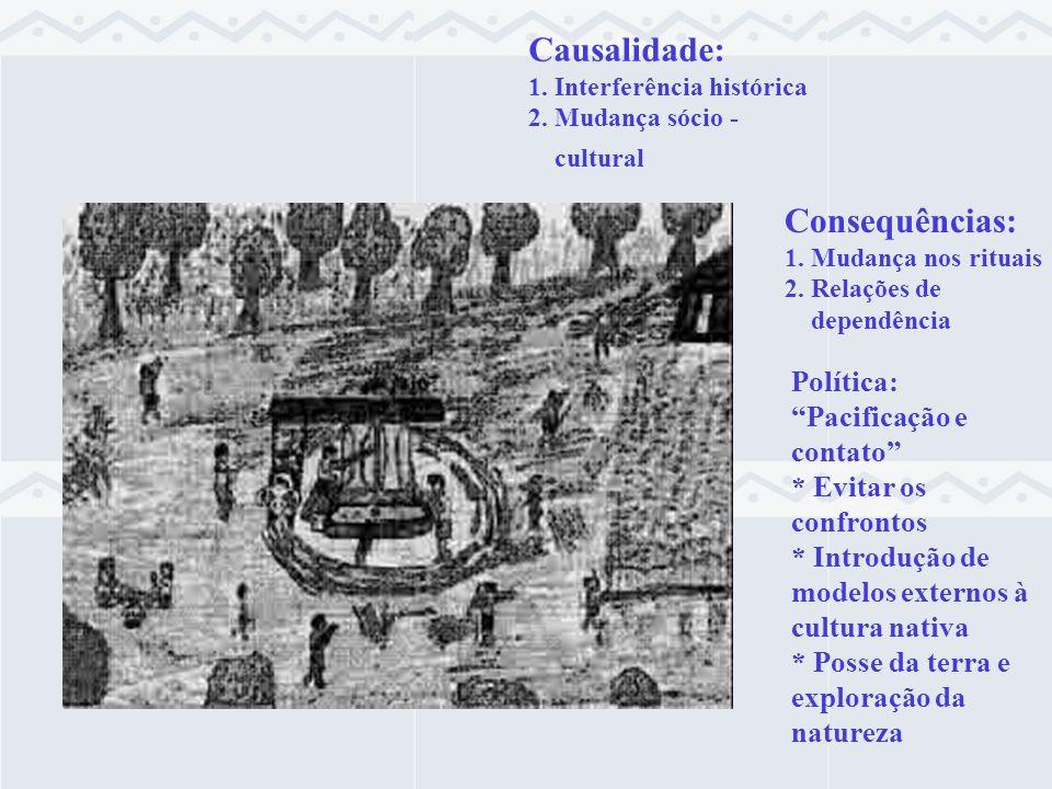 Política: Pacificação e contato * Evitar os confrontos * Introdução de modelos externos à cultura nativa * Posse da terra e exploração da natureza Cau