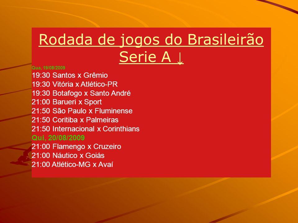 Rodada de jogos do Brasileirão Serie A Qua, 19/08/2009 19:30 Santos x Grêmio 19:30 Vitória x Atlético-PR 19:30 Botafogo x Santo André 21:00 Barueri x