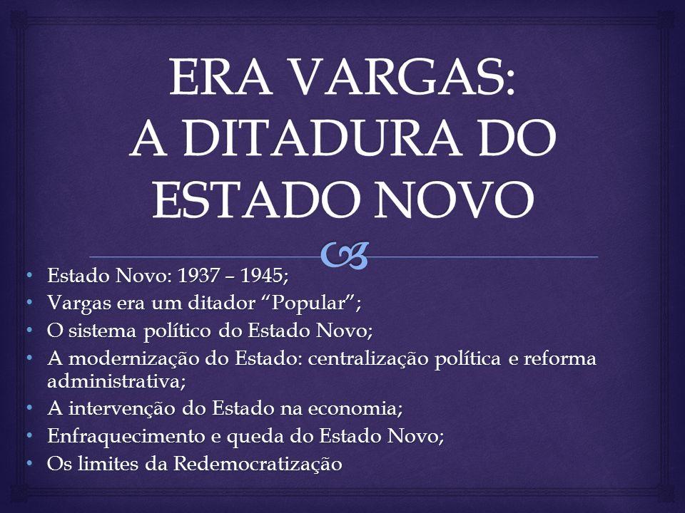 Estado Novo: 1937 – 1945; Estado Novo: 1937 – 1945; Vargas era um ditador Popular; Vargas era um ditador Popular; O sistema político do Estado Novo; O