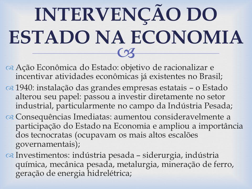 Ação Econômica do Estado: objetivo de racionalizar e incentivar atividades econômicas já existentes no Brasil; 1940: instalação das grandes empresas e