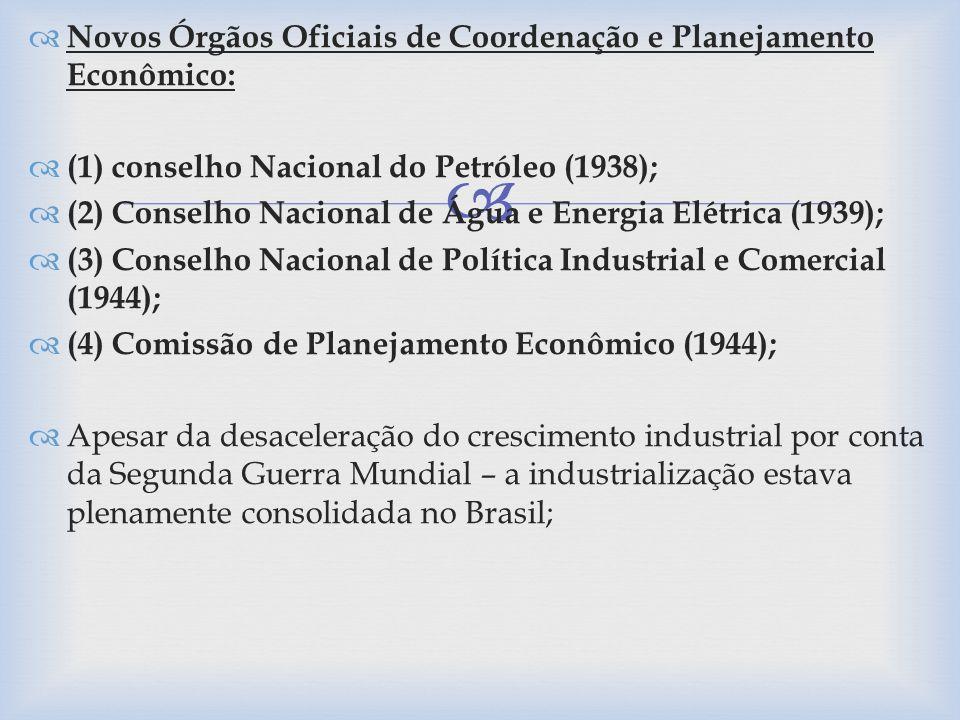 Novos Órgãos Oficiais de Coordenação e Planejamento Econômico: (1) conselho Nacional do Petróleo (1938); (2) Conselho Nacional de Água e Energia Elétr