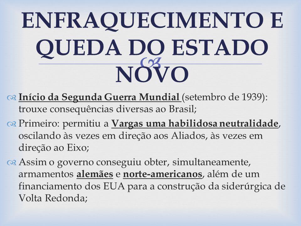 Início da Segunda Guerra Mundial (setembro de 1939): trouxe consequências diversas ao Brasil; Primeiro: permitiu a Vargas uma habilidosa neutralidade,