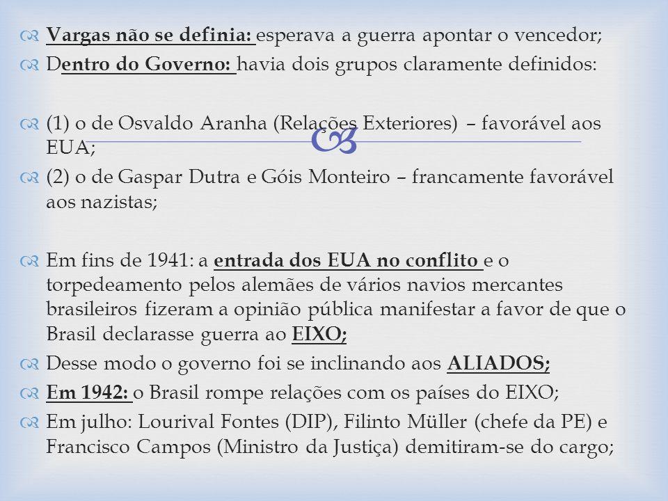 Vargas não se definia: esperava a guerra apontar o vencedor; D entro do Governo: havia dois grupos claramente definidos: (1) o de Osvaldo Aranha (Rela