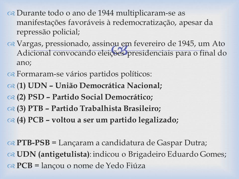 Durante todo o ano de 1944 multiplicaram-se as manifestações favoráveis à redemocratização, apesar da repressão policial; Vargas, pressionado, assinou