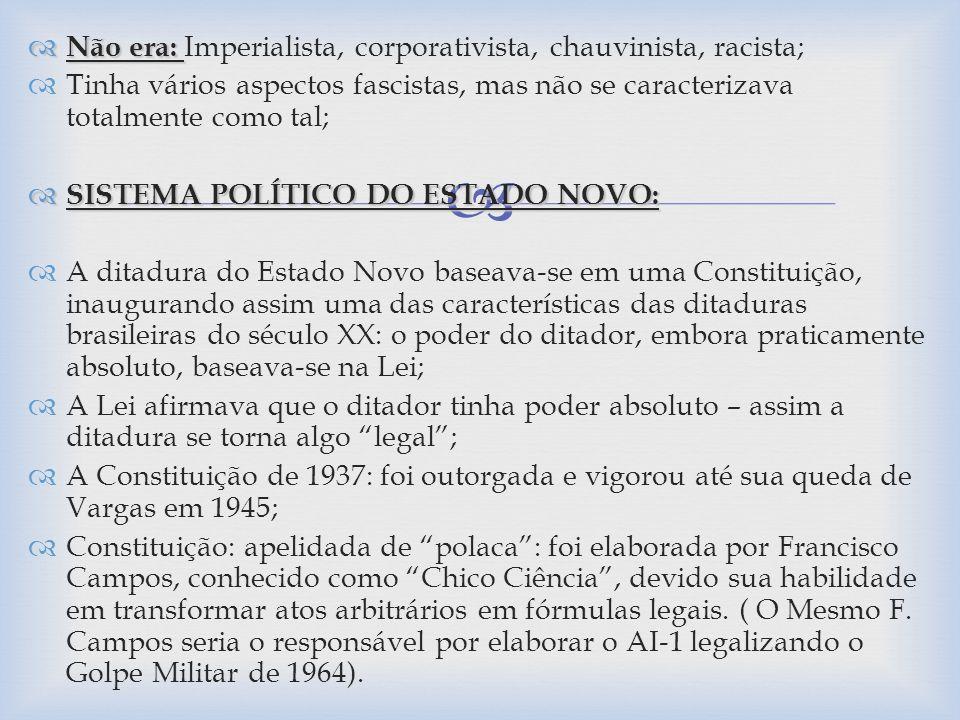 Novos Órgãos Oficiais de Coordenação e Planejamento Econômico: (1) conselho Nacional do Petróleo (1938); (2) Conselho Nacional de Água e Energia Elétrica (1939); (3) Conselho Nacional de Política Industrial e Comercial (1944); (4) Comissão de Planejamento Econômico (1944); Apesar da desaceleração do crescimento industrial por conta da Segunda Guerra Mundial – a industrialização estava plenamente consolidada no Brasil;