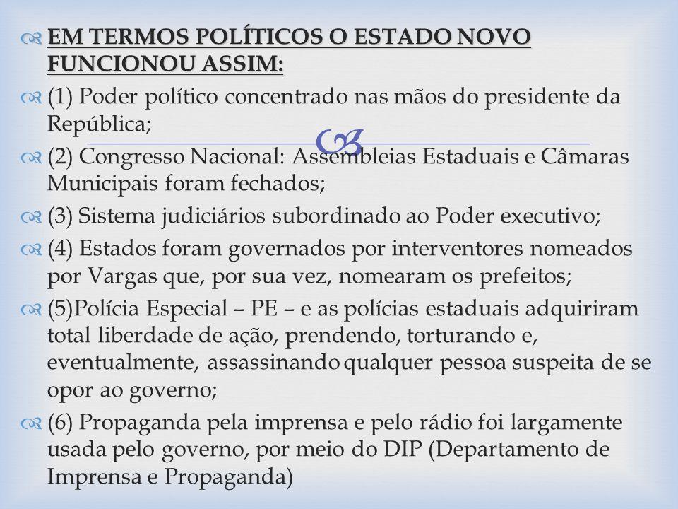 EM TERMOS POLÍTICOS O ESTADO NOVO FUNCIONOU ASSIM: EM TERMOS POLÍTICOS O ESTADO NOVO FUNCIONOU ASSIM: (1) Poder político concentrado nas mãos do presi