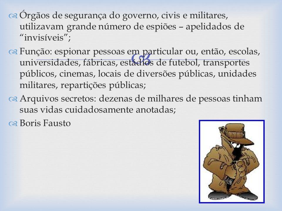 Órgãos de segurança do governo, civis e militares, utilizavam grande número de espiões – apelidados de invisíveis; Função: espionar pessoas em particu