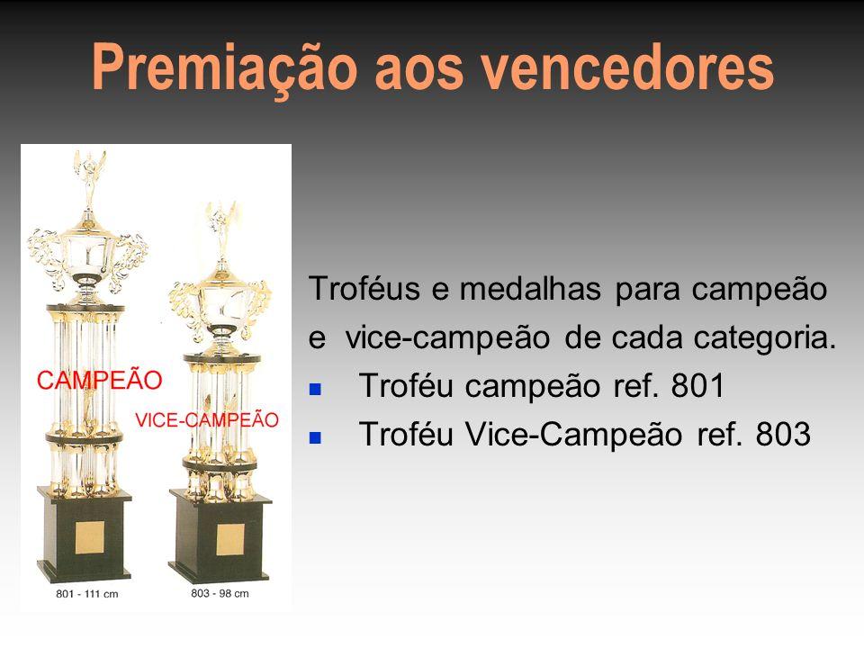 Premiação aos vencedores Troféus e medalhas para campeão e vice-campeão de cada categoria.