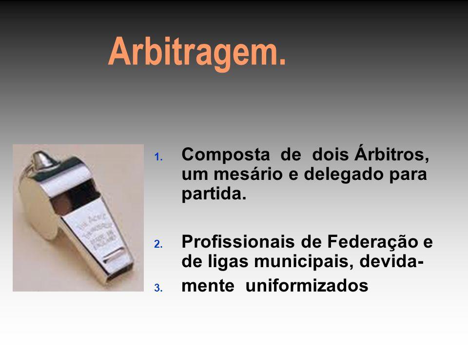 Arbitragem. 1. Composta de dois Árbitros, um mesário e delegado para partida.