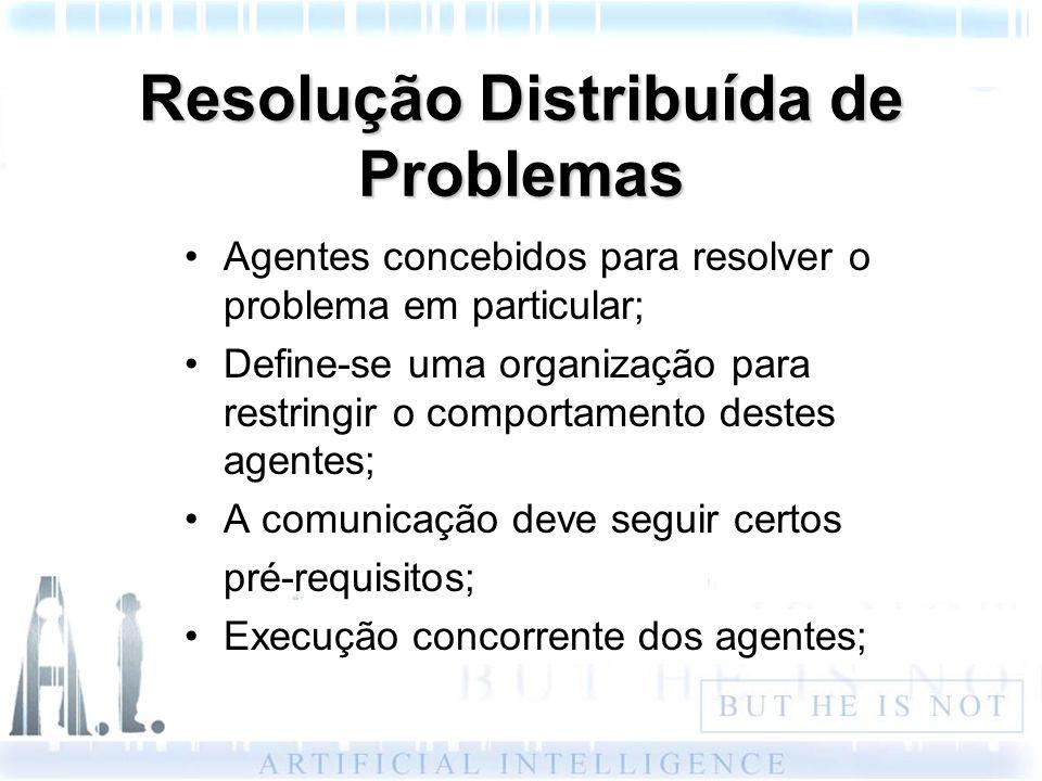 Resolução Distribuída de Problemas Agentes concebidos para resolver o problema em particular; Define-se uma organização para restringir o comportament