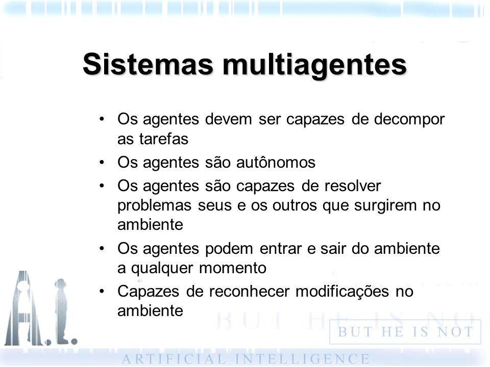 Sistemas multiagentes Os agentes devem ser capazes de decompor as tarefas Os agentes são autônomos Os agentes são capazes de resolver problemas seus e