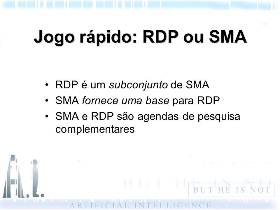 Jogo rápido: RDP ou SMA RDP é um subconjunto de SMA SMA fornece uma base para RDP SMA e RDP são agendas de pesquisa complementares