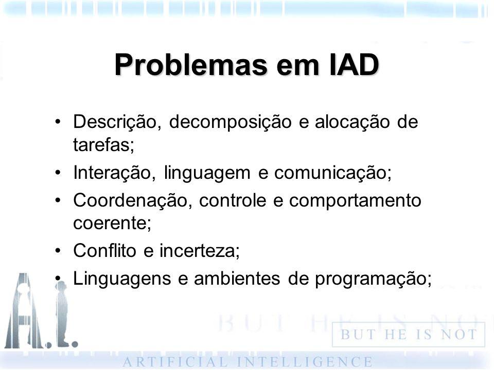 Problemas em IAD Descrição, decomposição e alocação de tarefas; Interação, linguagem e comunicação; Coordenação, controle e comportamento coerente; Co