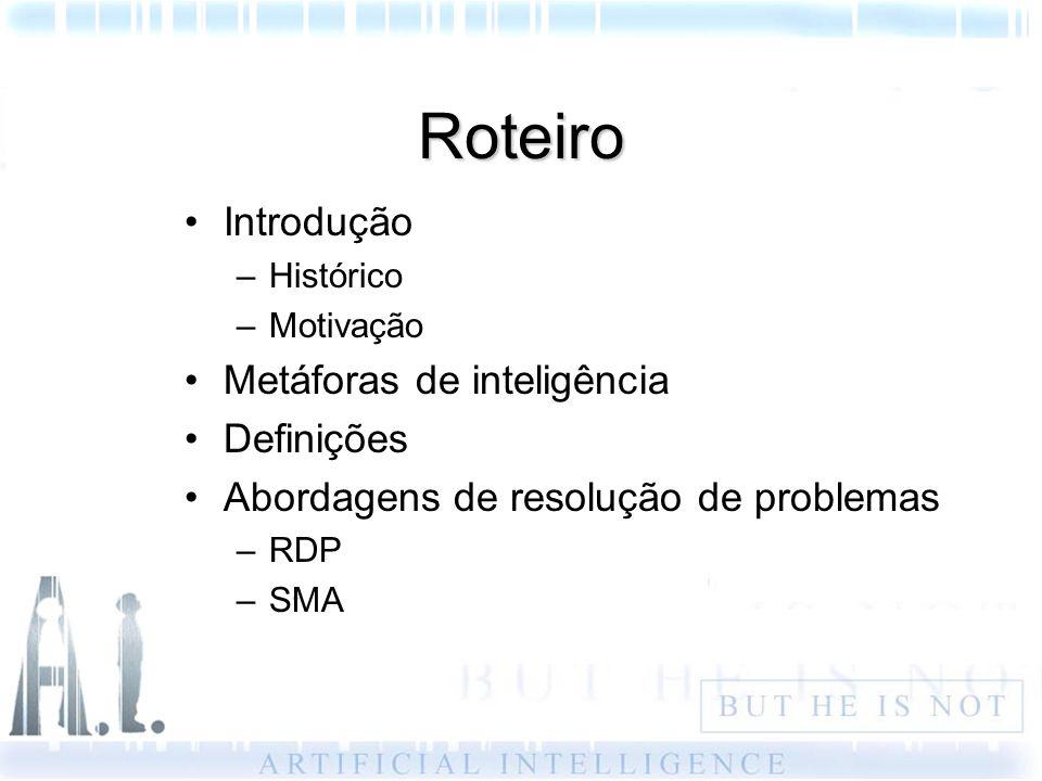 Roteiro Introdução –Histórico –Motivação Metáforas de inteligência Definições Abordagens de resolução de problemas –RDP –SMA