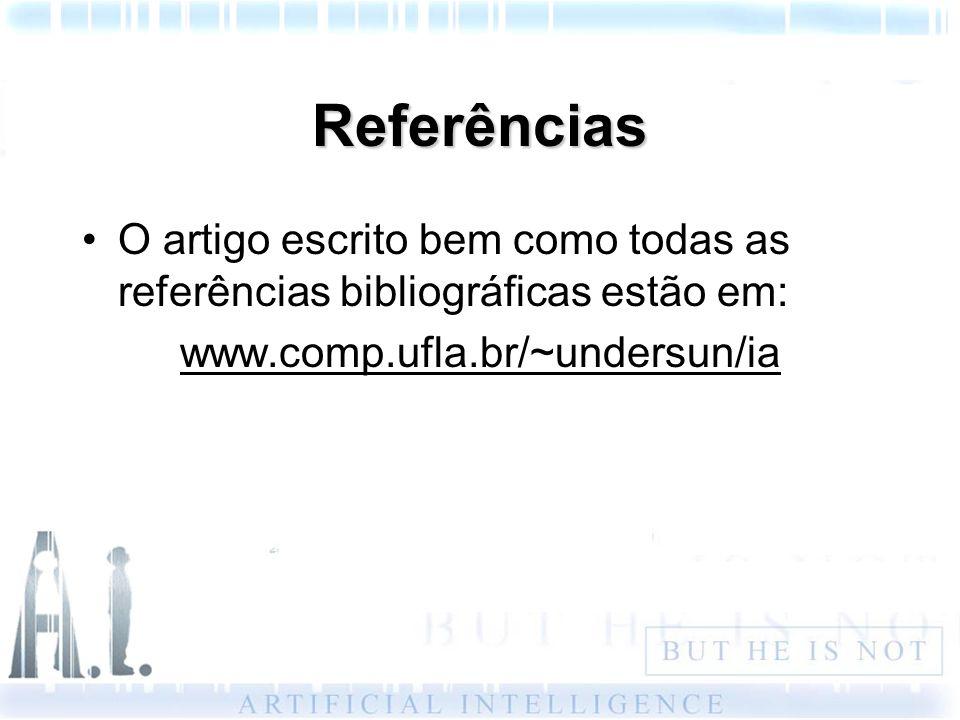Referências O artigo escrito bem como todas as referências bibliográficas estão em: www.comp.ufla.br/~undersun/ia