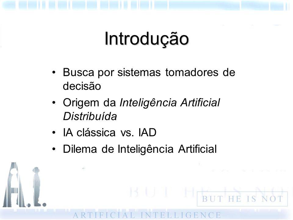 Introdução Busca por sistemas tomadores de decisão Origem da Inteligência Artificial Distribuída IA clássica vs. IAD Dilema de Inteligência Artificial