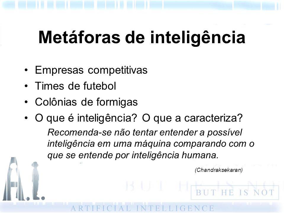 Metáforas de inteligência Empresas competitivas Times de futebol Colônias de formigas O que é inteligência? O que a caracteriza? Recomenda-se não tent