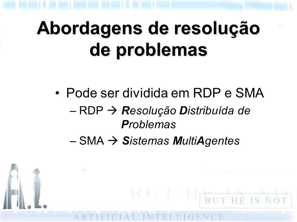 Abordagens de resolução de problemas Pode ser dividida em RDP e SMA –RDP Resolução Distribuída de Problemas –SMA Sistemas MultiAgentes