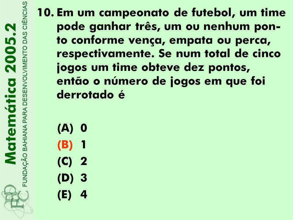 10.Em um campeonato de futebol, um time pode ganhar três, um ou nenhum pon- to conforme vença, empata ou perca, respectivamente. Se num total de cinco