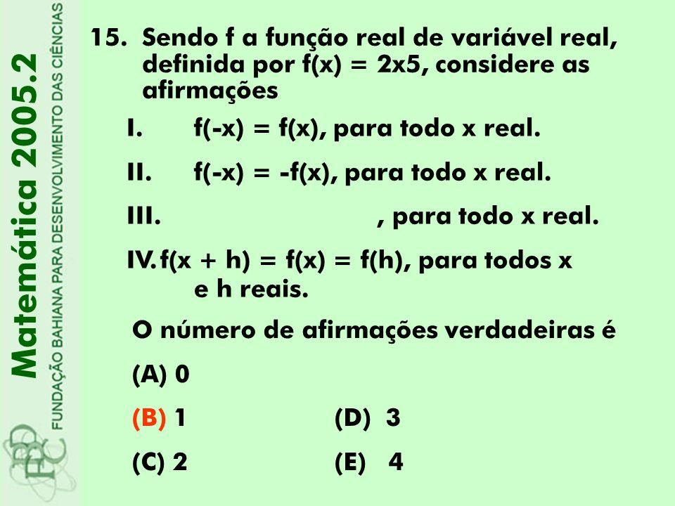 15.Sendo f a função real de variável real, definida por f(x) = 2x5, considere as afirmações Matemática 2005.2 I.f(-x) = f(x), para todo x real. II. f(