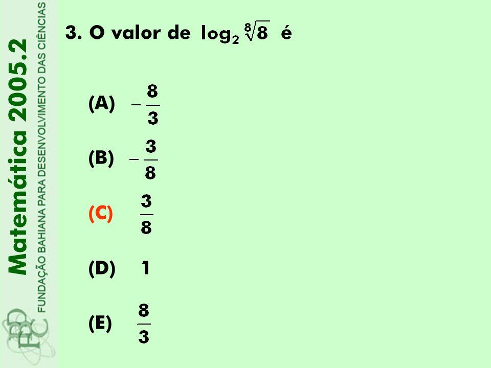 3.O valor de é Matemática 2005.2 (A) (B) (C) (D) 1 (E)