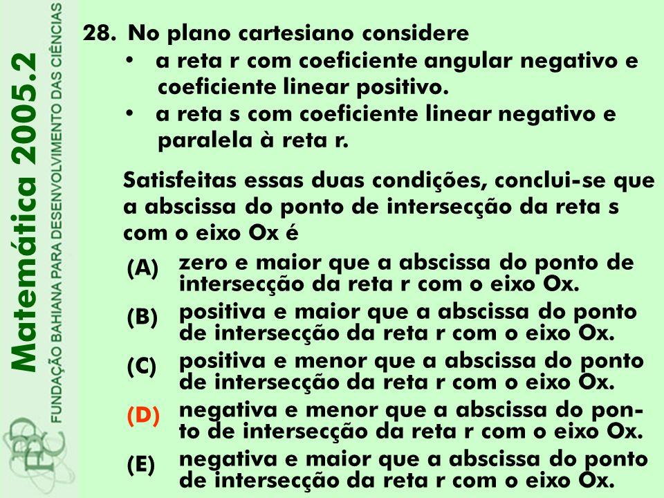 28.No plano cartesiano considere Matemática 2005.2 (A) zero e maior que a abscissa do ponto de intersecção da reta r com o eixo Ox. (B) positiva e mai