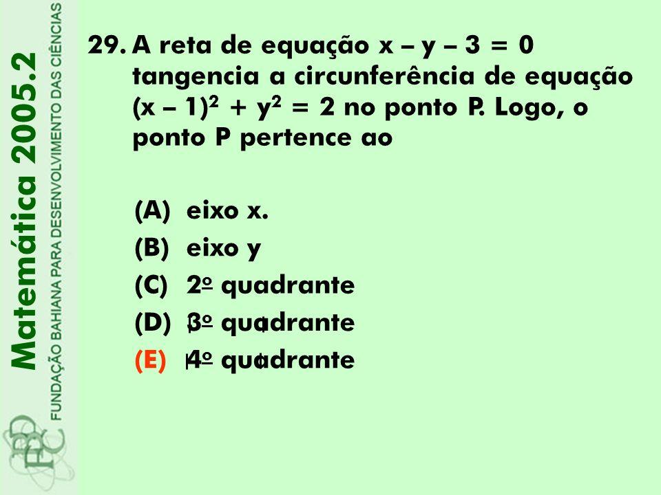 29.A reta de equação x – y – 3 = 0 tangencia a circunferência de equação (x – 1) 2 + y 2 = 2 no ponto P. Logo, o ponto P pertence ao Matemática 2005.2