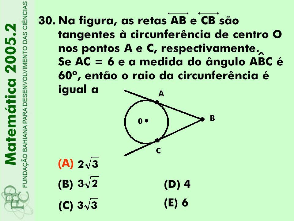 30.Na figura, as retas AB e CB são tangentes à circunferência de centro O nos pontos A e C, respectivamente. Se AC = 6 e a medida do ângulo ABC é 60º,