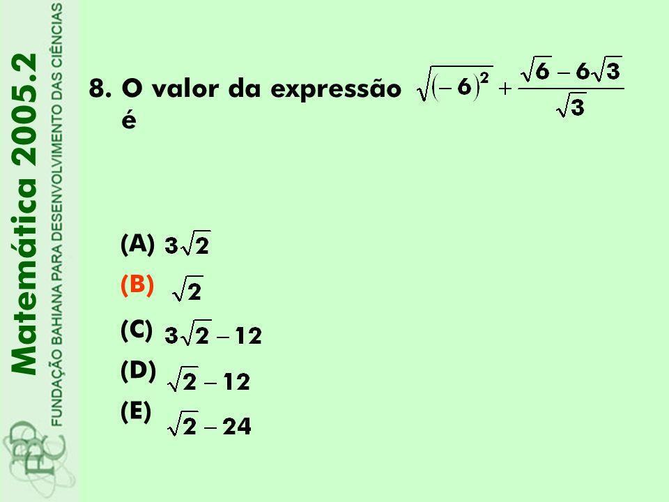 8.O valor da expressão é (A) (B) (C) (D) (E) Matemática 2005.2