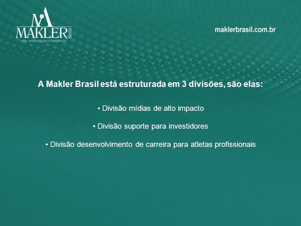 A Makler Brasil está estruturada em 3 divisões, são elas: Divisão mídias de alto impacto Divisão suporte para investidores Divisão desenvolvimento de carreira para atletas profissionais