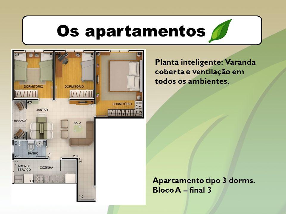 O bairro Os apartamentos Apartamento tipo 3 dorms.