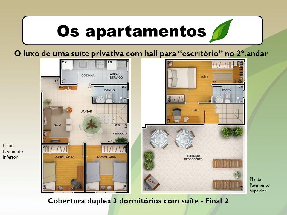O bairro Os apartamentos Cobertura duplex 3 dormitórios com suíte - Final 2 O luxo de uma suíte privativa com hall para escritório no 2º.andar Planta Pavimento Inferior Planta Pavimento Superior