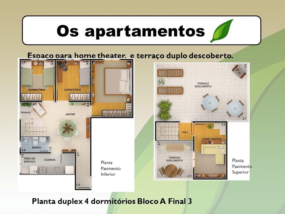 O bairro Os apartamentos Planta duplex 4 dormitórios Bloco A Final 3 Espaço para home theater, e terraço duplo descoberto.