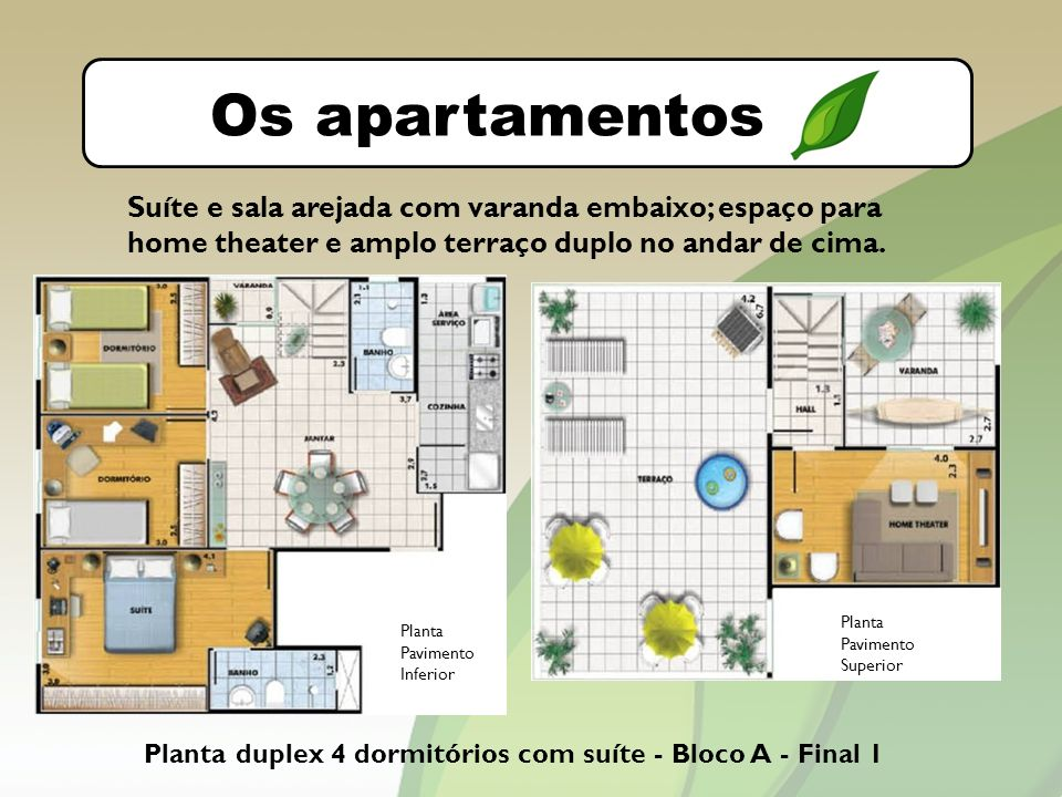 O bairro Os apartamentos Planta duplex 4 dormitórios com suíte - Bloco A - Final 1 Suíte e sala arejada com varanda embaixo; espaço para home theater e amplo terraço duplo no andar de cima.