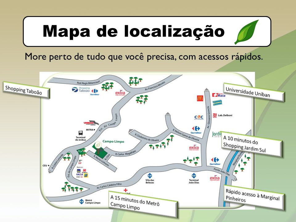 O bairro Mapa de localização More perto de tudo que você precisa, com acessos rápidos.