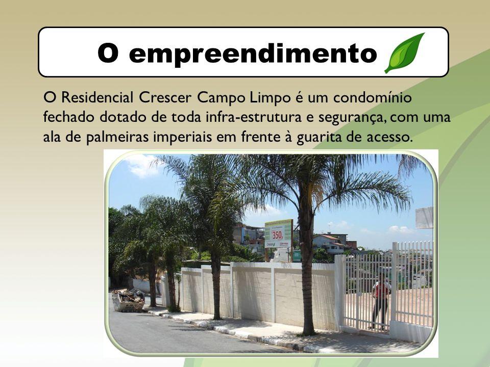 O bairro O empreendimento O Residencial Crescer Campo Limpo é um condomínio fechado dotado de toda infra-estrutura e segurança, com uma ala de palmeiras imperiais em frente à guarita de acesso.