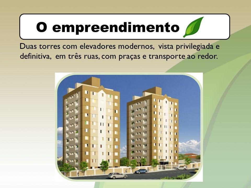 O bairro O empreendimento Duas torres com elevadores modernos, vista privilegiada e definitiva, em três ruas, com praças e transporte ao redor.