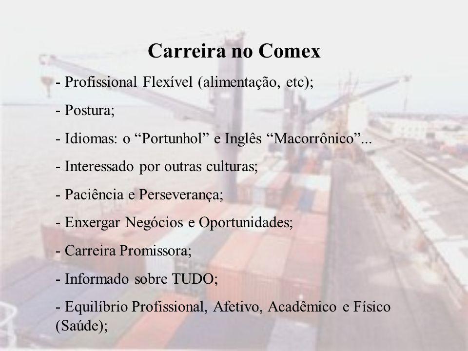 Carreira no Comex - Profissional Flexível (alimentação, etc); - Postura; - Idiomas: o Portunhol e Inglês Macorrônico... - Interessado por outras cultu